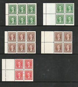 CANADA SG 357a ,357b, 358a , 358b, 359a 1937 GVI BOOKLET PANES MNH