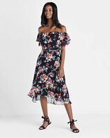 "NWT Express Off The Shoulder Ruffle Midi Dress Value $80 Sold out SZ ""0"""