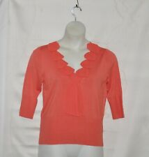 Simply. Chloe Dao Sweater with Silk Ruffle Trim Size S Coral