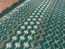 Vintage Handmade Swedish Huck Weaving Monks Cloth Afghan Blanket Throw Prayer