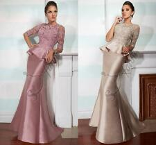 Pink High Neck Formal Evening Dress Long Sleeves Mermaid Appliques Prom Gowns