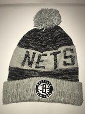 Brooklyn Nets NBA Winter Beanie Hat Black & Gray Pom Mitchell & Ness