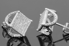 10K WHITE GOLD .50 CARAT MENS WOMENS 11 mm 100% GENUINE DIAMONDS EARRING STUDS