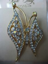 KIRKS FOLLY Clear & Aurora Borealis Crystal Butterfly Pin/Brooch NEW WITH TAGS