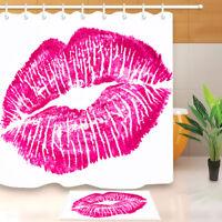 Pink Lip Print on White Fabric Shower Curtain Set Bathmat Rug Bathroom Accessory