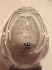 Kosta Boda Scandinavian Art Glass Crystal Singing 2 Birds Etched Vase w/ Sticker