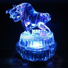 "Glass Charging Bull w/ Colorful Light Stand Figurine Miniature 3.5""L New"