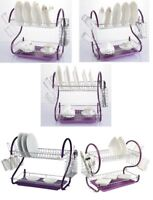New 2 Tier Purple Drip Drainer Rack Plates Water Dish Cutlery Holder Tray Cup