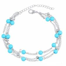 Womens Ankle Bracelet Silver Gold Plated Sterling Anklet Foot Chain Beach Bead I