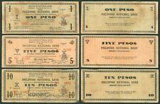 1941 US Philippines 1 5 & 10 Pesos PNB NEGROS OCCIDENTAL WW2 Emergency Notes