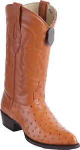 LOS ALTOS MEN HONEY GENUINE FULL QUILL OSTRICH WESTERN COWBOY BOOT J-TOE EE