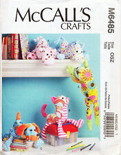 Mccall's Sewing Pattern 6485 Baby Animal Soft Toys Cat Dog Hippo Horse Frog