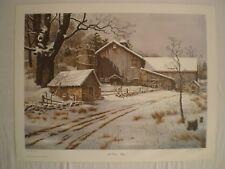 ARTIST SIGNED #/250 WINTER FARM BARN LANDSCAPE WALL ART LITHOGRAPH PRINT 24x19