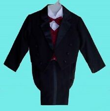 BOYS BLACK TUXEDO w/RED VEST WEDDING RING BEARER BABY INTFANT TODDLER SIZE 0