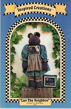 """Luv Thy Neighbor Uncut Inspired Creations Pattern #47 28"""" Bear, Cat Pin & Pillow"""