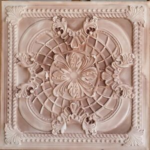 Ceiling tile 2x2 Faux tin painting beige cafe bar wall panel 10tile/lot PL31