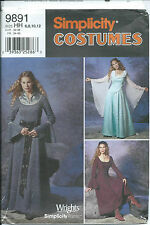 S 9891 sewing pattern LOTR Medieval COSTUME sew GOWN DRESS Sleeves w/ DRAPE 6-12