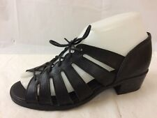 Munro Sport Womens 5.5 Wide Lace Up Strappy Sandal Leather Block Heel Shoe Black