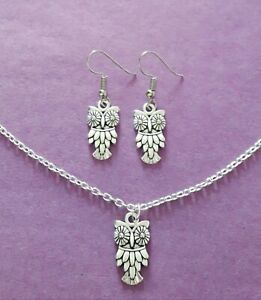Silver Tone Owl Charm Necklace & Earrings Set - New