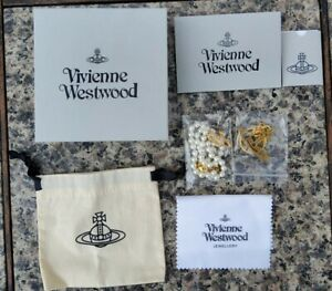 Vivienne Westwood Mini Bas Relief Pearl Gold Toned Orb Crystal Choker Necklace