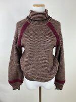 VTG 70s VALENTINO Miss V Turtleneck Sweater M Wool Blend Raglan Bishop Sleeve
