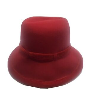 """Vintage Womens 100% Wool Hat Red Appx 7"""" Derby Bow In Back Size: One 98070"""