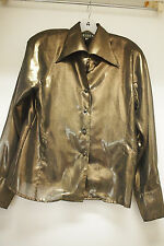 Crisca Vintage Sheer Metallic Bronze Long Sleeve with Shoulder Pads, size 36 Eur