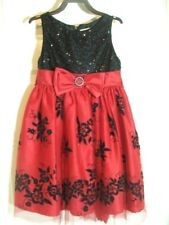 Girls Dress by Youngland SIZE 5 Sparkley Lace over Red Satin Black Sequins Top