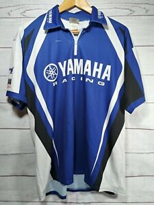 Yamaha Racing Pit Shirt Blue Mens L Embroidered Double Sided 1/4 Zipper 521i