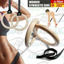 32mm Wooden Gymnastic Olympic Rings Crossfit Gym Fitness Strength Training Ring