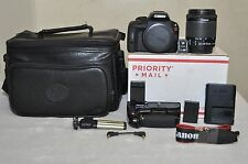 Canon EOS Rebel SL1 18.0 MP - Black w/ 18-55mm IS  STM Lens + Extras, Low Clicks