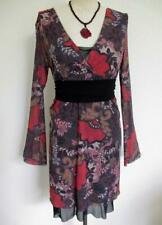 Sweet Pea by Stacy Frati Dress M Double Layer Stretch Mesh Autumn Floral Ruched