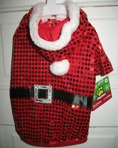 Top Paw Sequin Hooded Santa Jacket Coat For Medium Dogs M NWT