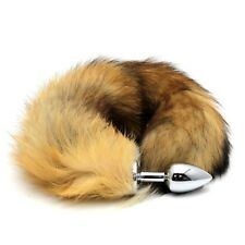 Hot! Lover Role-play Tool Faux Fox Tail Stainless Steel Plug Romance Games Toy