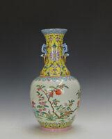Superb Chinese Qing Daoguang MK Famille Rose Yellow Ground Porcelain Vase