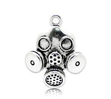 4 Antique Silver Tone Large GAS MASK Pendant Charms . chs0244