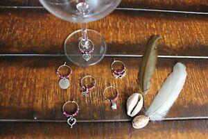Wine Glass Rings Lovely Pink Black Beaded Love Heart Wings Flower Rings Set of 6