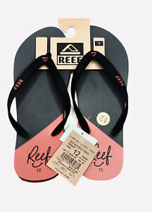 NWT Reef Sandals Gray/Red Thong Flip Flop Beach Casual Slippers Mens Size 12
