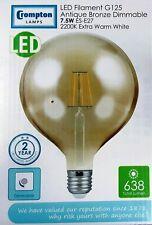 1X 7.5 W es G125 LED Filamento Crompton 2200K Globe Regulable 638 LM 4313 Bronce