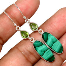 Malachite & Peridot 925 Sterling Silver Earring Jewelry AE166455