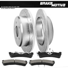 Rear Drill & Slot Brake Rotors & Metallic Pads For Mountaineer Ford Explorer