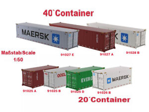 Diecast Masters Container 20ft und 40ft Container 1/50 Evergreen, TEX, Maersk