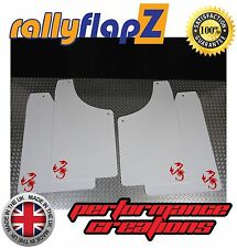 Rally Mudflaps to fit FIAT 500 ABARTH Mud Flaps White 4mm PVC (Scorp Logo Red)