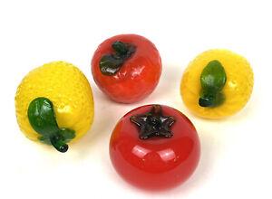 4pc Vintage Murano Style Glass Fruit Vegetable Lemons Apple Tomato Bright colors