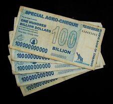 5 x Zimbabwe 100 Billion dollar agro cheque banknotes