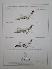 PUB AVRO AEROSPACE AVRO RJ85 CROSSAIR TURKISH AIRLINES RJ100 RJ70 FRENCH AD
