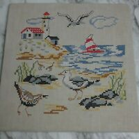 """Vintage Completed Cross Stitch Finished Beach Boat Lighthouse Gulls 11"""" x 11"""""""