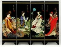 Chinese Lacquer Painting Beautiful Folding Screen Ancient beauty pattern