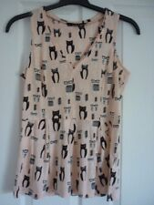 NEXT BLUSH BLACK IVORY JERSEY CATS WITH GLASSES TOP. UK 12, EUR 40, US 8. BNWT