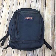 VTG Jansport Backpack Navy Blue Leather Handle Strap Laptop Bag Made in USA